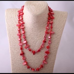 New Long Halsband Color Crystal and Necklace